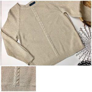 Karen Scott Beige Knit Cable Crew Neck Sweater, XL